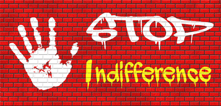 ignorant: indifference indifferent and ignorant care about show compassion give a helping hand or charity donation get involved and show involvement and concern grafitty on red brick wall, text and hand