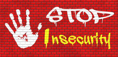 avergonzado: detener la inseguridad encontrar incremento verdad de seguridad hay verg�enza o miedo a superar t�mido verg�enza sentir grafitty resultado final en pared de ladrillo rojo, el texto y la mano Foto de archivo