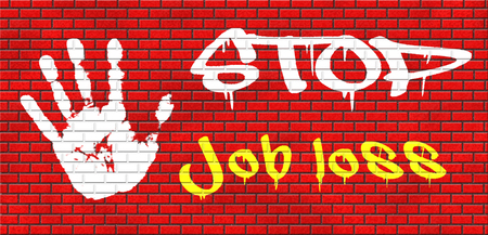 job loss: job loss and unemployment getting fired employment rate Layoff and Downsizing grafitty on red brick wall, text and hand Stock Photo