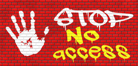 no access: no access stop password required no entrance denied authorized personnel only restricted area grafitty on red brick wall, text and hand