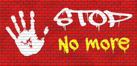 tolerate: no more pain suffering disappointment, last time never again stop forever grafitty on red brick wall, text and hand grafitty on red brick wall, text and hand Stock Photo