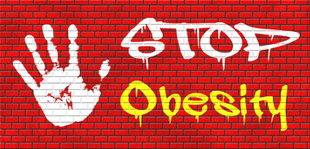 over weight: obesity prevention stop over weight start campaign with low fat diet for obese children and adults with eating disorder grafitty on red brick wall, text and hand Stock Photo