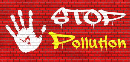 stop pollution: stop pollution reuse and recycle go green renewable energy and sustainable agriculture reduce waste grafitty on red brick wall, text and hand Stock Photo