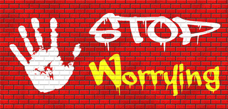 no problems: stop worrying no more worries solve all problems and relax keep calm and dont panic, panicking wont help just think positive and overcome problems grafitty on red brick wall, text and hand