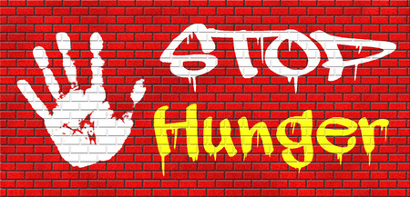 starvation: stop hunger suffering malnutrition starvation and famine caused by food scarcity undernourished bad harvest aid grafitty on red brick wall, text and hand