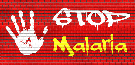 stop malaria by prevention treatment with pills or mosquito nets good diagnosis for symptoms and insect repellent and net avoids bite and infection with parasite grafitty on red brick wall, text and hand Stock Photo