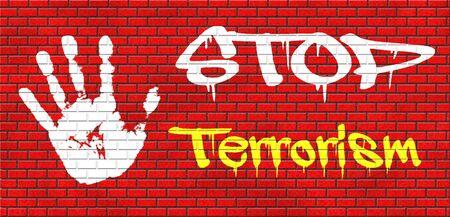 stop terrorism war on terror no terrorist attacks grafitty on red brick wall, text and hand photo