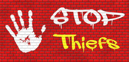 ladrón: ladrones capturas dejan de robo no robo o recoger bolsillo arresto ladr�n de investigaci�n policial o vecindario ver online grafitty ladr�n internet en pared de ladrillo rojo, el texto y la mano