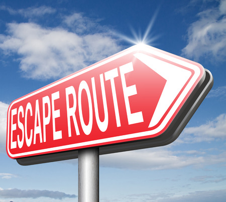 break out of prison: escape route emergency exit avoid stress and break free running away to safety no rat race road sign arrow