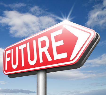 bright future: bright future ahead planning a happy future having a good plan with text and word concept road sign arrow