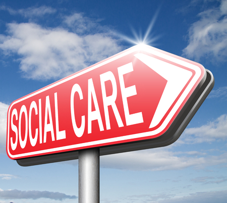 social care or health security healthcare insurance pension disability welfare and unemployment programs road sign arrow Stock Photo