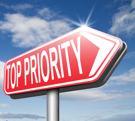 important sign: top priority important very high urgency info lost importance crucial information road sign arrow highest importance Stock Photo