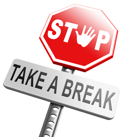 rest day: take a break for lunch coffee or take a a vacation or leisure day off to rest
