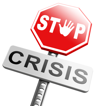 bank crisis: stop crisis recession and inflation economic and bank downfall stock market crash Stock Photo