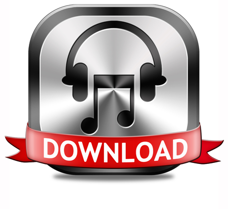live stream: Music download button play and to listen live stream or for downloading mp3 song Stock Photo