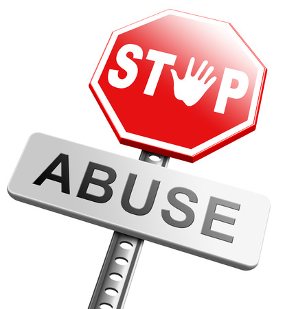 maltreatment: stop child abuse or misuse of power and domestic violence prevention warning sign Stock Photo