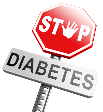 screen type: diabetes find causes and sceen for symptoms of type 1 or 2 prevention by dieting or treath with medication or low fat and sugar free diet Stock Photo