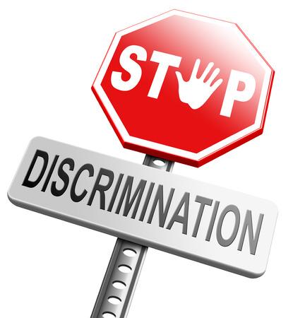 discriminacion: detener la discriminación igualdad de derechos de igualdad hay racismo basada en la raza o el origen étnico edad de género sin homofobia Foto de archivo