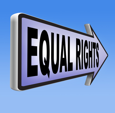 handicap people: equal rights no discrimination and same opportunities for all women man disabled black and white solidarity discrimination of people with disability or physical and mental handicap Stock Photo
