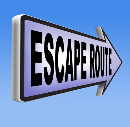 prison break: escape route avoid stress and break free running away to safety no rat race road sign