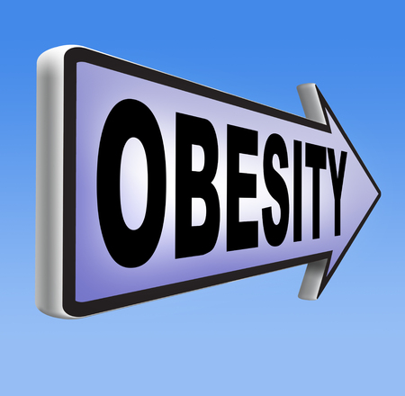 over weight: obesity road sign over weight or obese people suffer eating disorder and can be helped by dieting