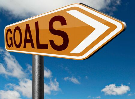 goal: goals and ambition way to success guarantee to reach your goal and go to the top Stock Photo