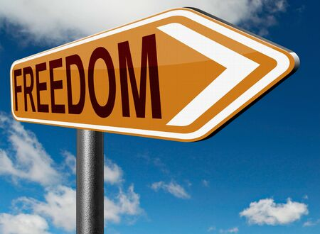 sovereignty: freedom peaceful free life without restrictions or obligations and peace democracy with text and word concept Stock Photo