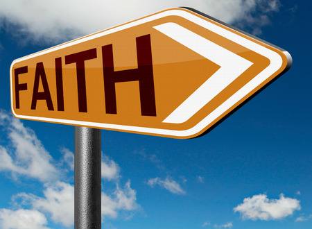 trust in god: faith and trust pray to god and follow jesus and the holy bible road sign arrow Stock Photo