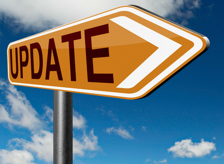 the latest: Update  updating software now and here to the latest newest version or new edition Stock Photo
