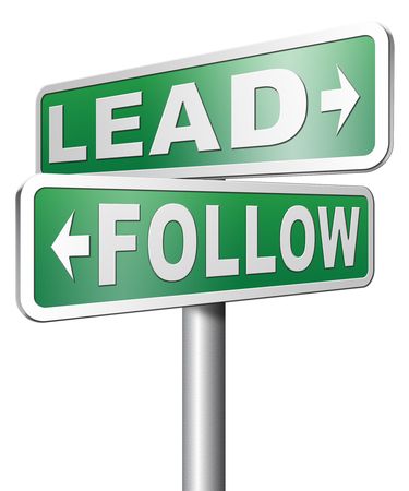 copycat: lead follow following the natural leader, the chief in command by followers in business Stock Photo