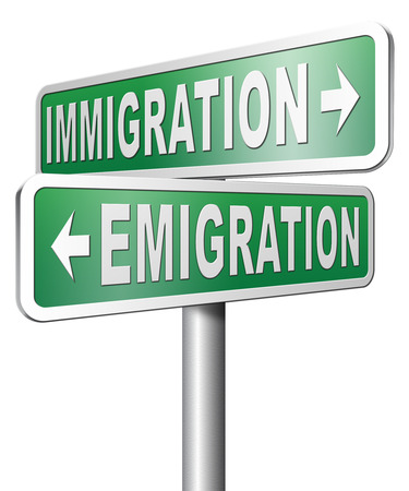 immigrate: immigration or emigration political or economic migration by refugees or moving across the border by economic migrants Stock Photo