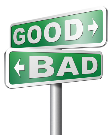 goed slecht een moreel dilemma over waarden goed of fout slecht of eerlijk ethiek Stockfoto