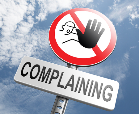 complain: stop complaining accept fate and be positive dont complain and take responsibility be responsible Stock Photo