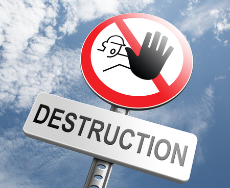 stop pollution: Stop destruction pollution deforestation and no global warming save our planet dont destruct life on earth or single ecosystem road sign