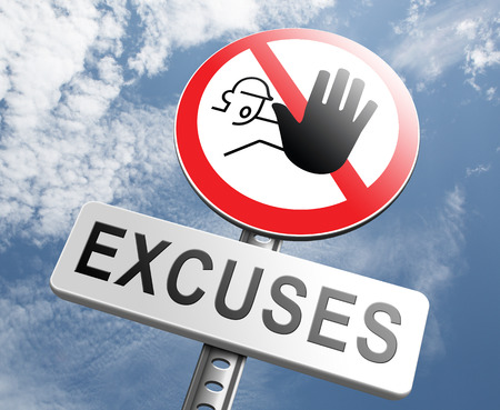 responsibilities: stop excuses tell the truth, take responsibility and have no regrets. Being responsible and taking responsibilities is better than telling lies. Say sorry is not enough! No excuse! Stock Photo