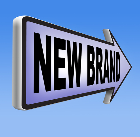 adverts: new brand or label product promotion and marketing sign Stock Photo