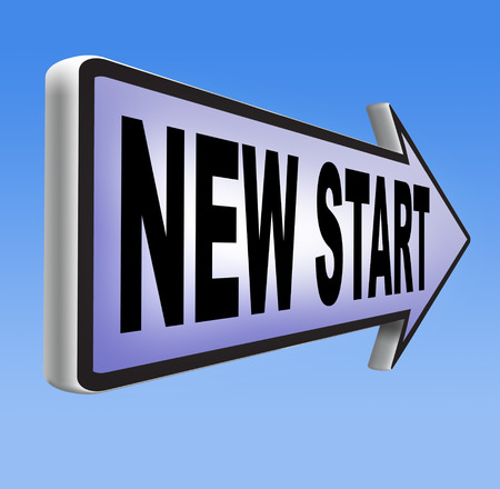 new start: new start again or chance back to the beginning and play game road sign arrow Stock Photo