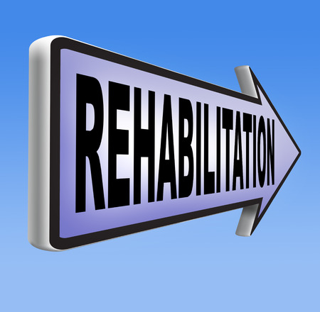alcohol addiction: rehabilitation rehab for drugs alcohol addiction or sport and accident injury physical or mental therapy road sign