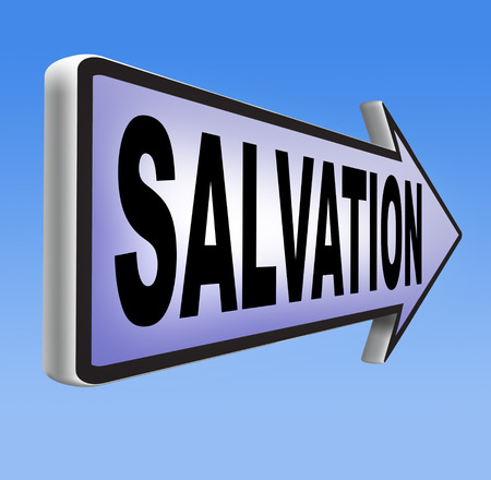 the salvation: salvation road sign arrow follow jesus and god to be rescued save your soul sign with text and word
