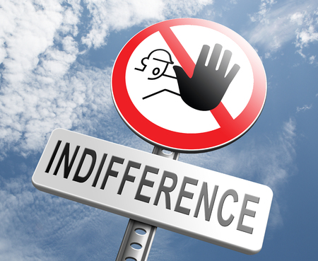 indifferent: indifference indifferent and ignorant care about show compassion give a helping hand or charity donation Stock Photo