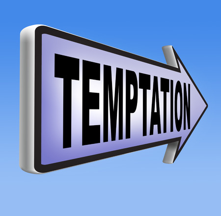 irresistible: temptation resist devil temptations lose bad habits by self control Stock Photo