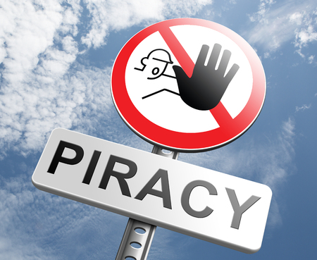 piracy: piracy stop illegal download of movies and music and illegal copying copyright and intellectual property protection protect copy of trademark brand Stock Photo
