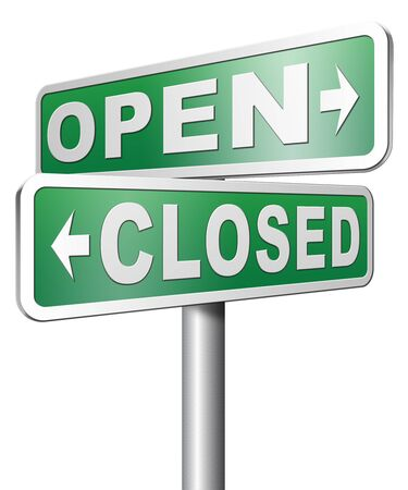 opening hours: open or closed opening hours start of new season no access Stock Photo
