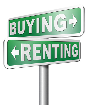 Renting: renting mortgage rent or buy a house or property and having a bank loan Stock Photo