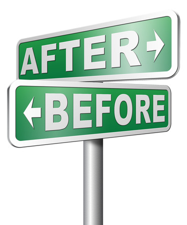 makeover: before after make a change for the best do a makeover going forward towards a bright new future Stock Photo