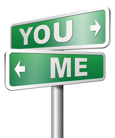 about you: you me or us mariage crisis or differences leading to divorce and separation having different or separate interests and opinions Stock Photo
