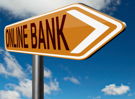 bank account: online internet banking money deposit bank account road sign Stock Photo