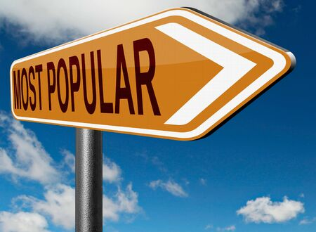 by popularity: most popular road sign popularity for best seller or market leader and top product or rating in the pop poll charts Stock Photo