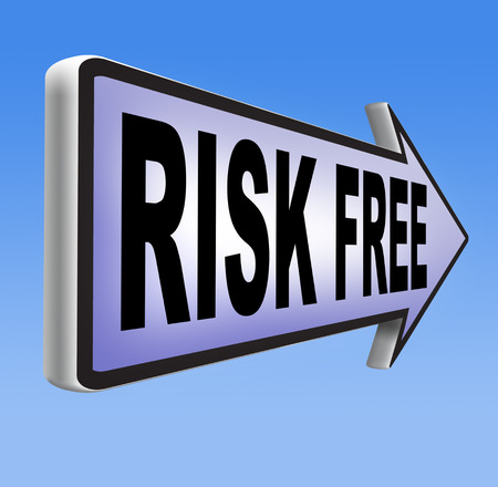 risk free: risk free no risks safe investment best top quality product money back guarantee road sign arrow