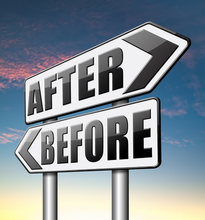 before and after: before after make a change for the best do a makeover going forward towards a bright new future Stock Photo